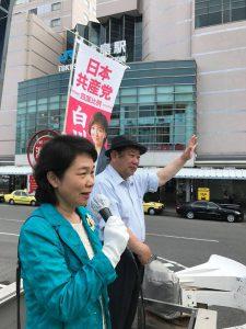 20170714定例の徳島駅前宣伝